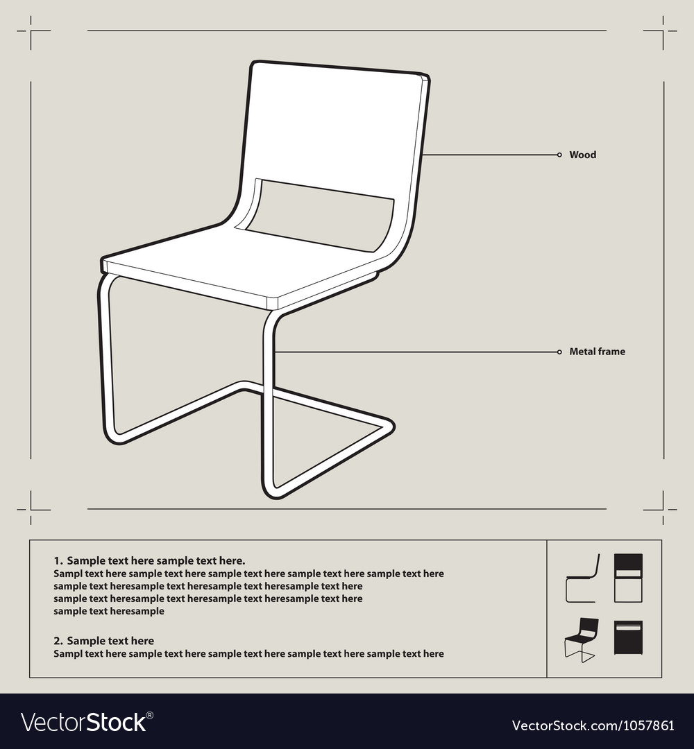 Chair blueprint background vector