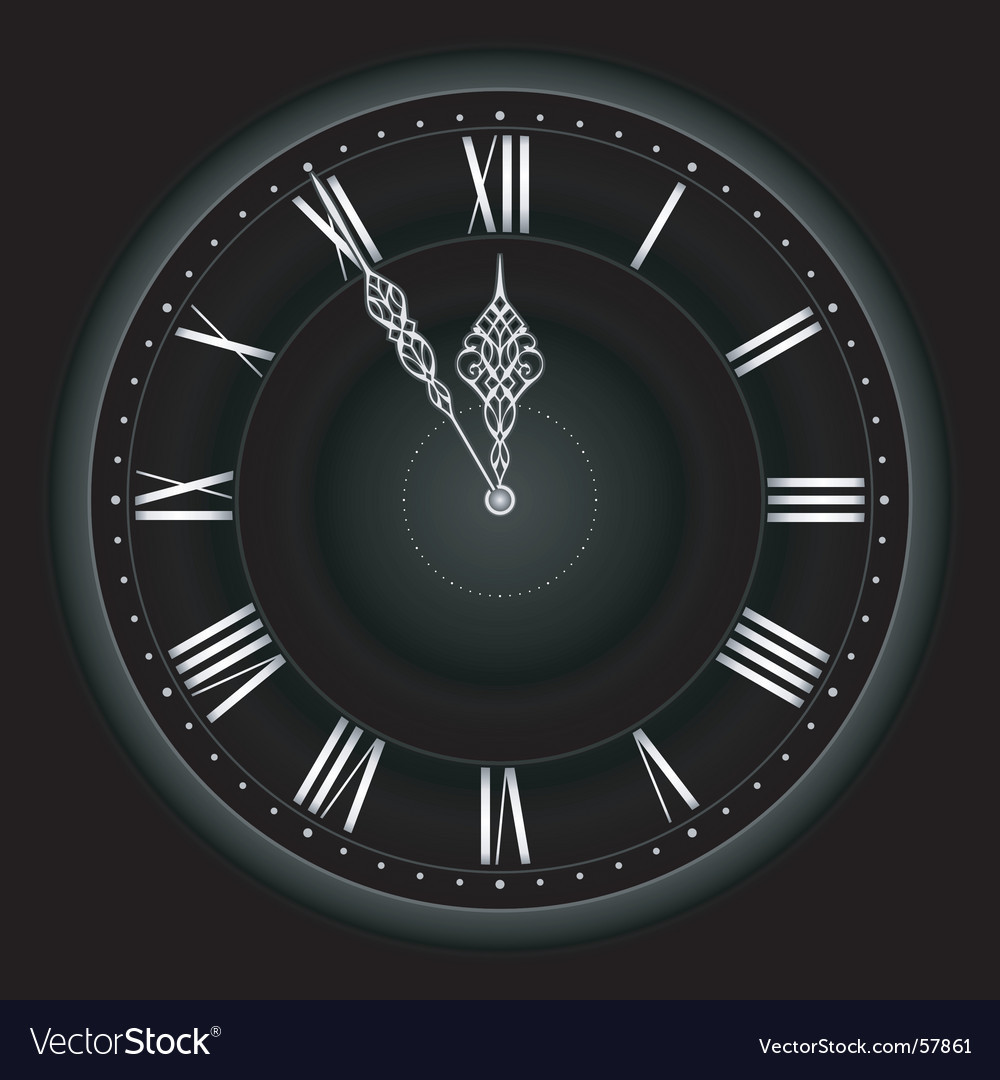 Stylish black silver clock vector