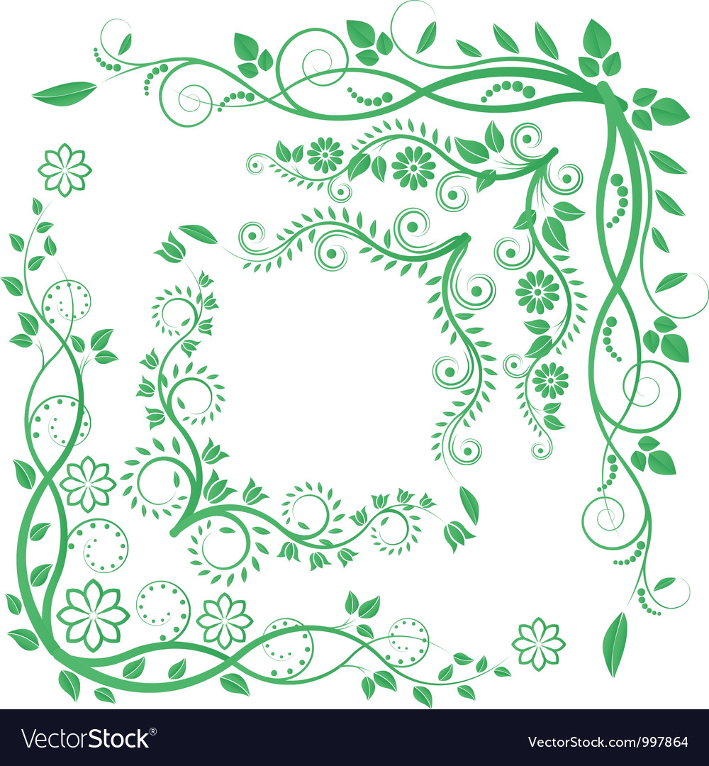 Floral corners vector