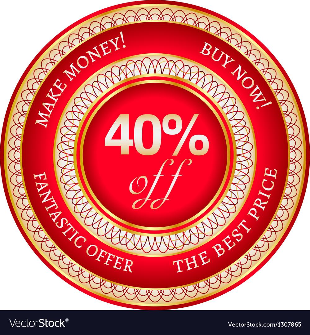 Label on 40 percent discount vector