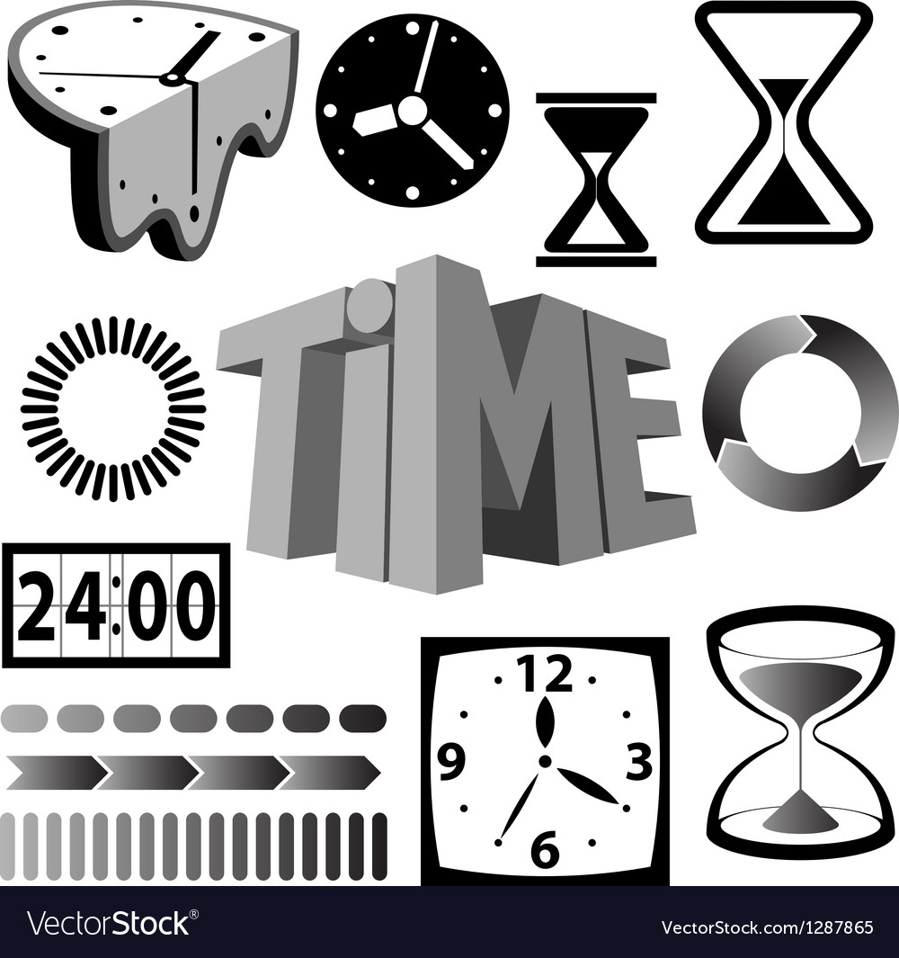 Time icons and signs vector