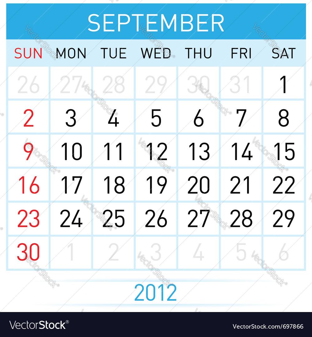 September calendar vector