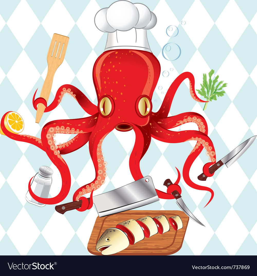 Octopus cooking sushi and fish vector
