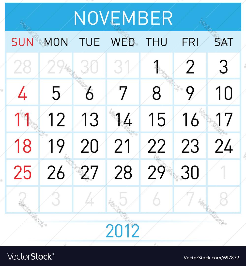 November calendar vector