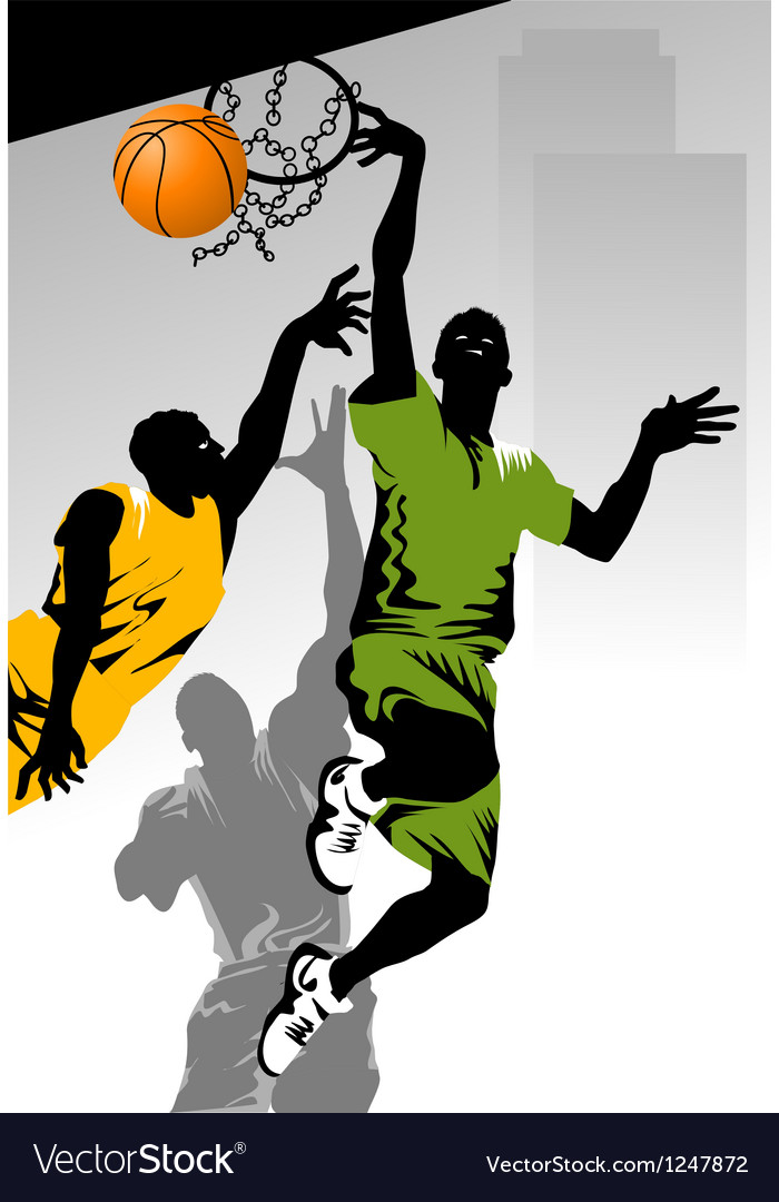 Playing basketball vector