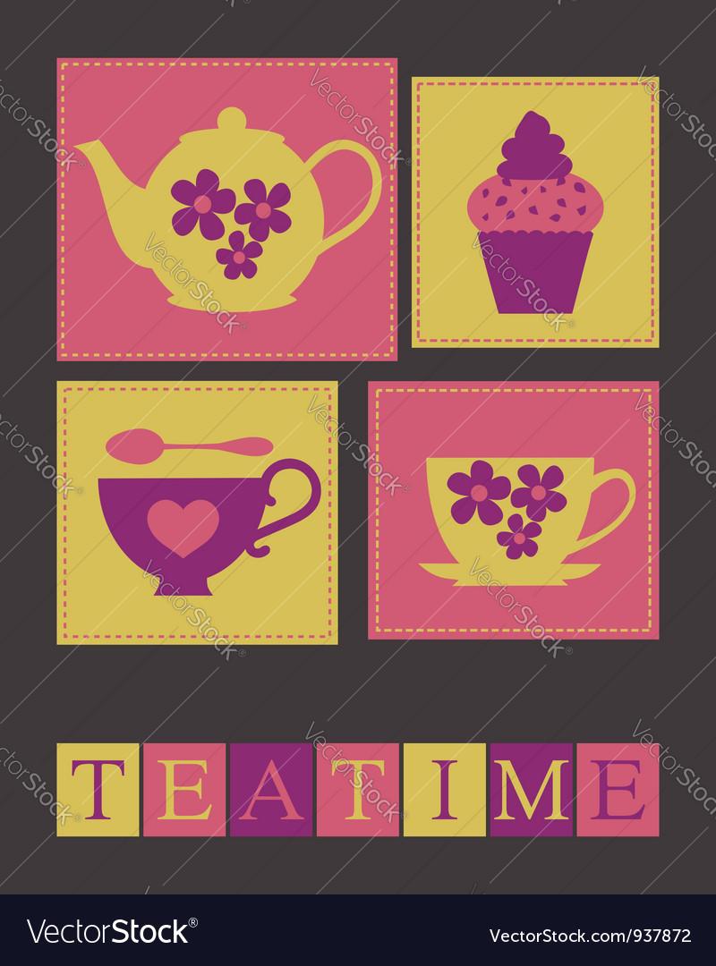 Teatime card vector