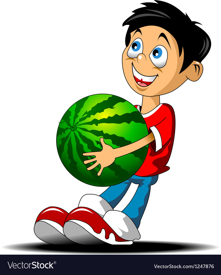 Boy with a watermelon vector