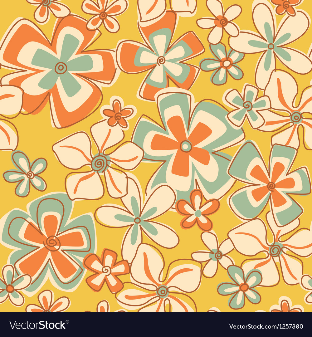Vintage abstract flowers vector