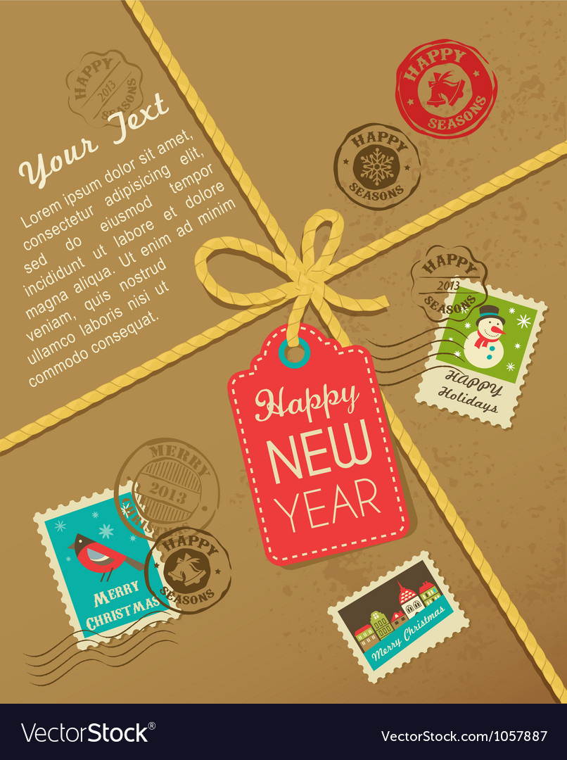 Christmas gift with vintage postage stamps vector