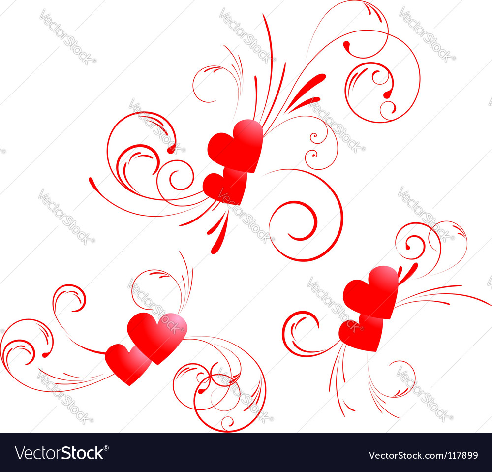 Valentine hearts swirl vector