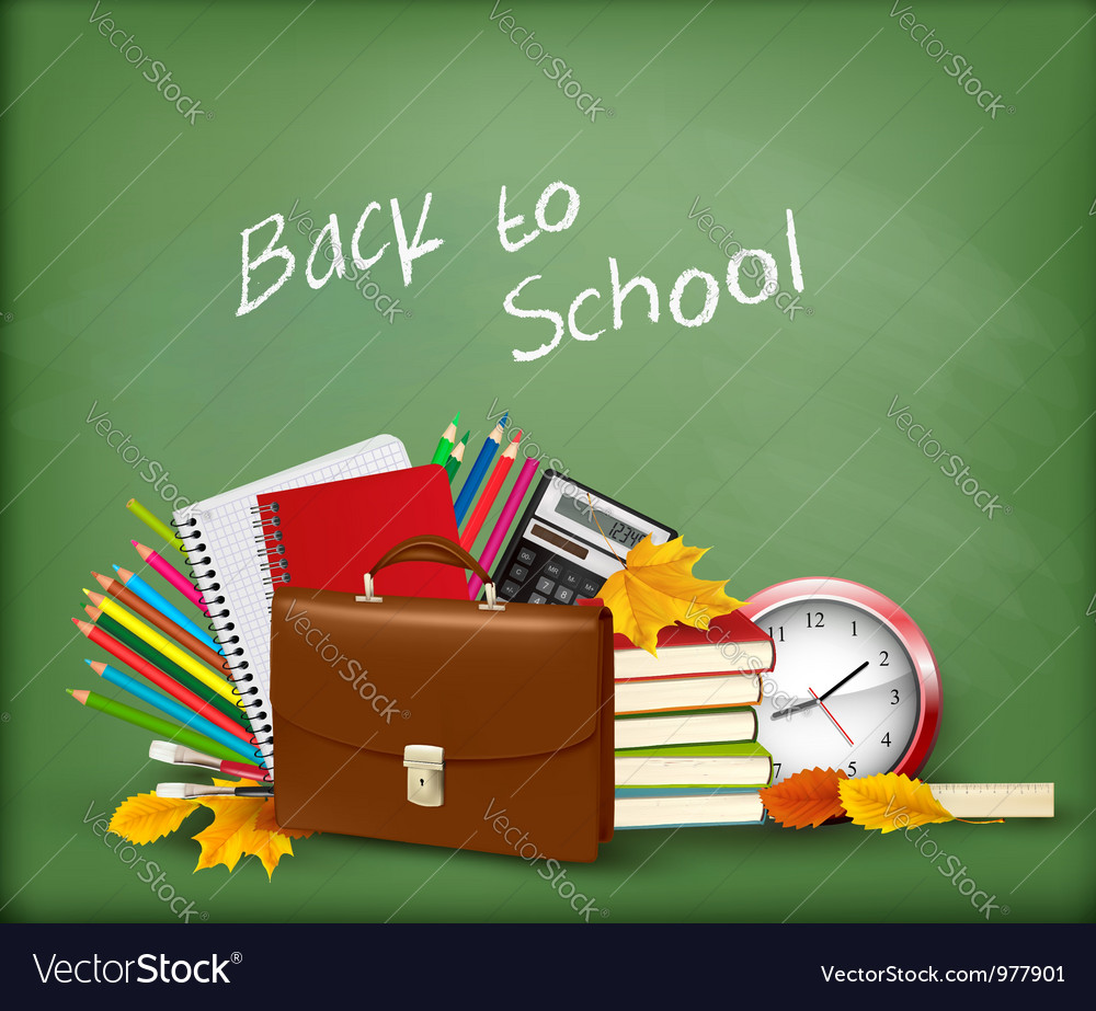 Green background with school supplies vector