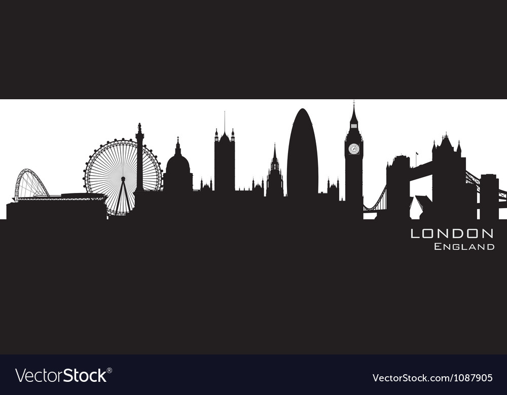 London england skyline detailed silhouette vector