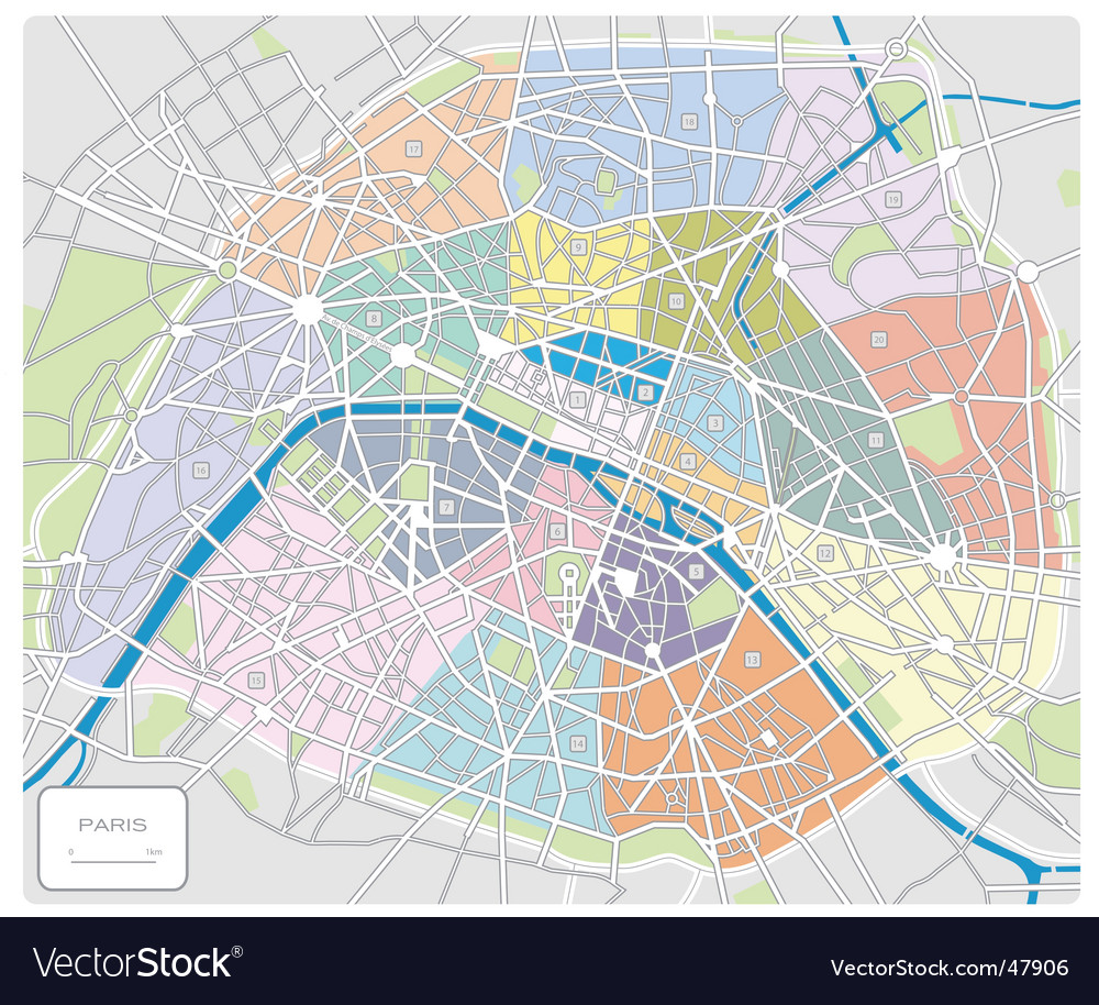 Map of paris france vector