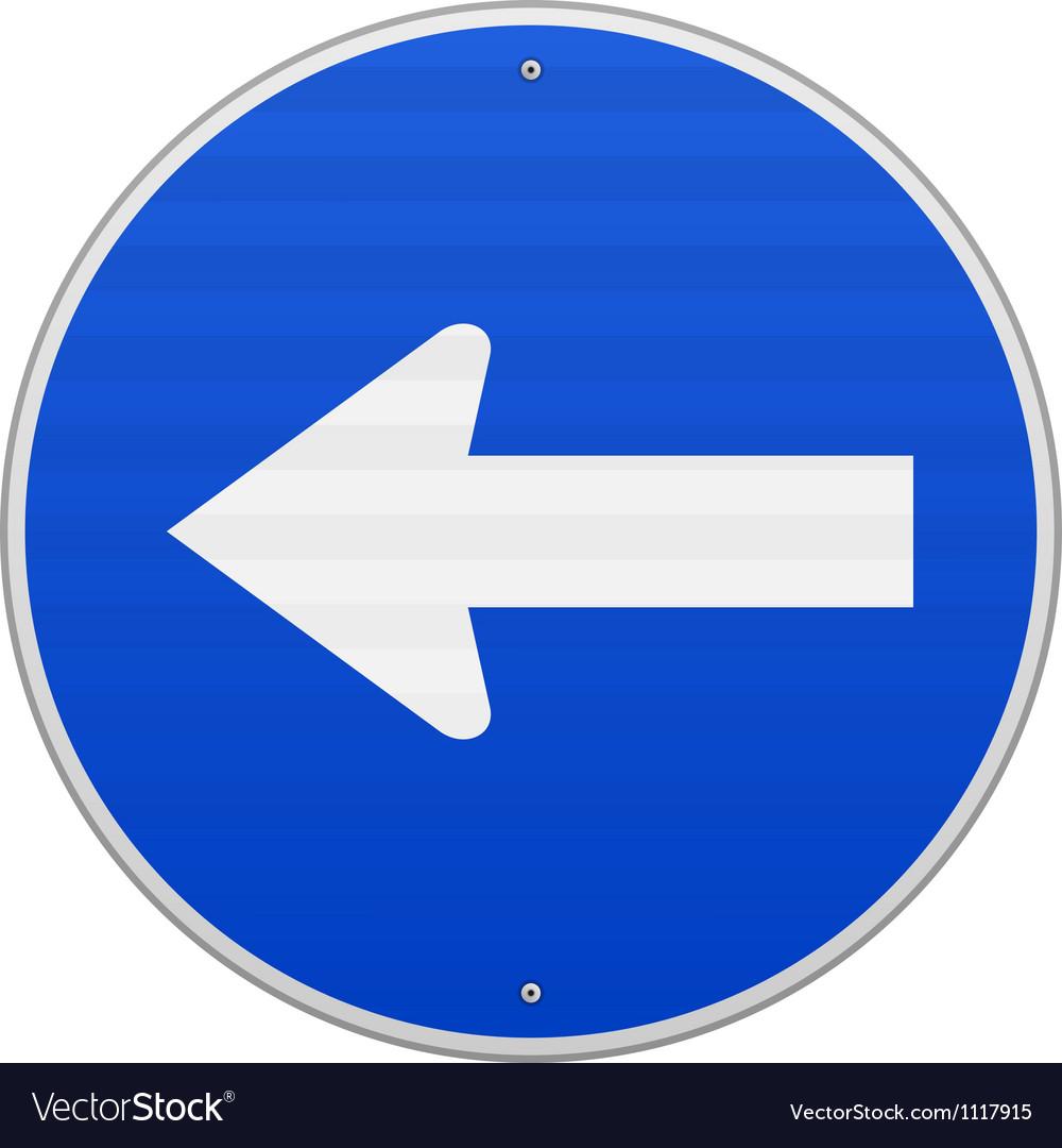 Blue sign with arrow left vector