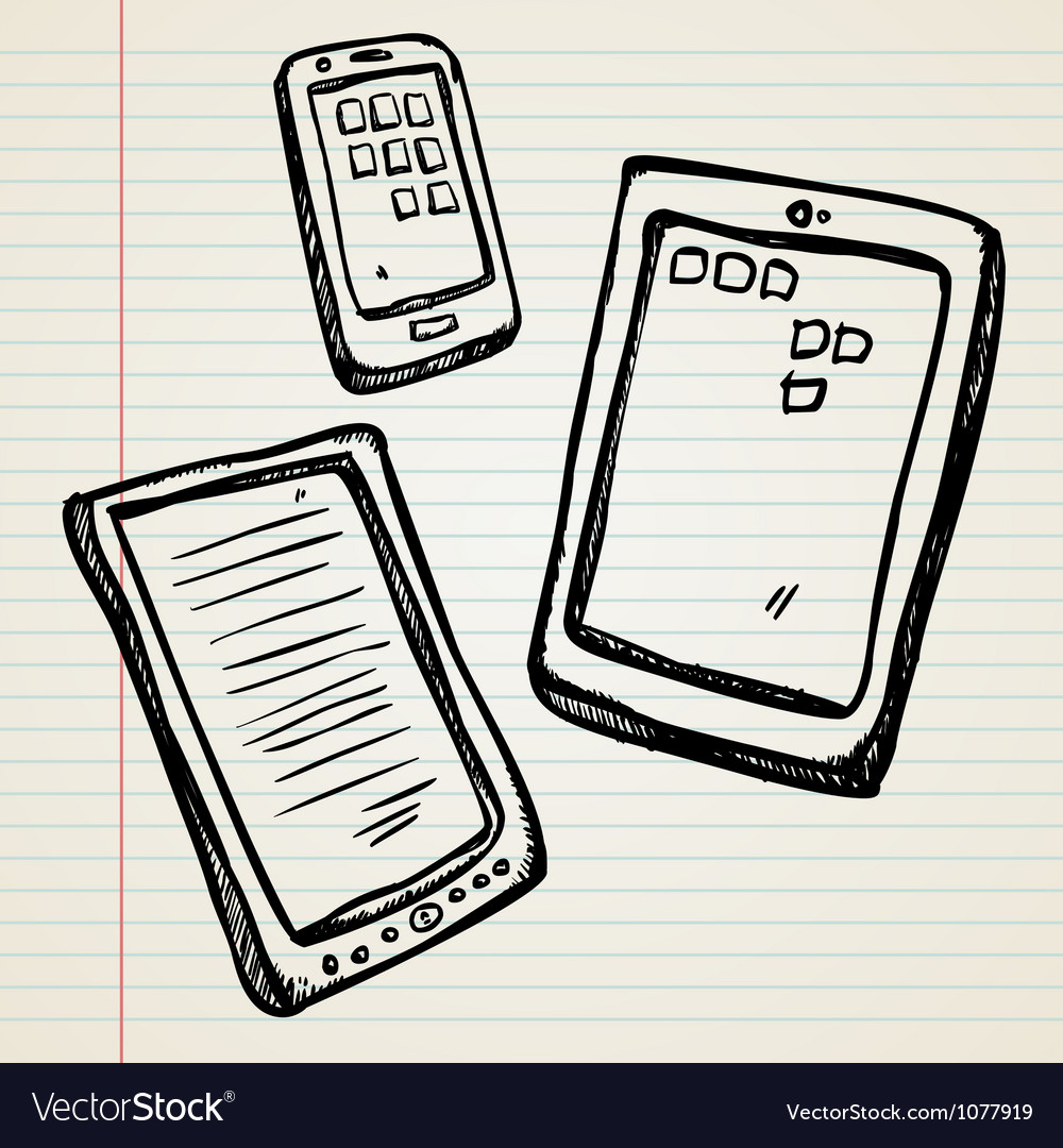 Sketches of a ebook tablet and smartphone vector