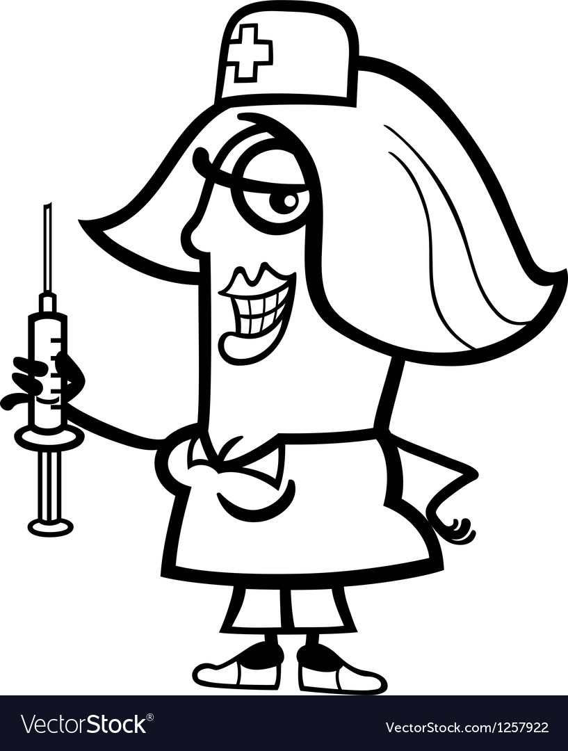 Nurse with syringe cartoon vector