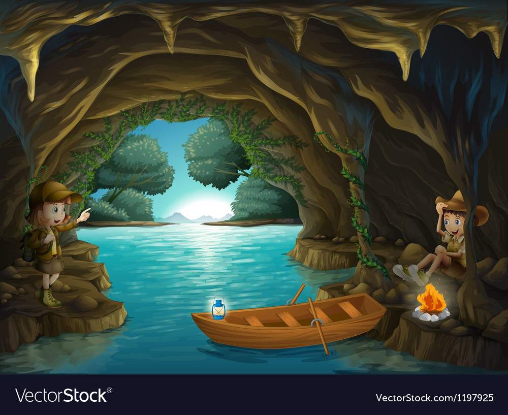 A young girl and boy inside the cave vector