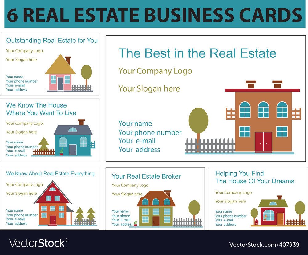 Real estate business cards vector