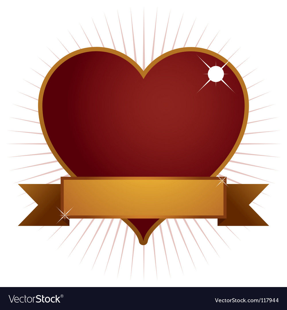 Heart with banner vector