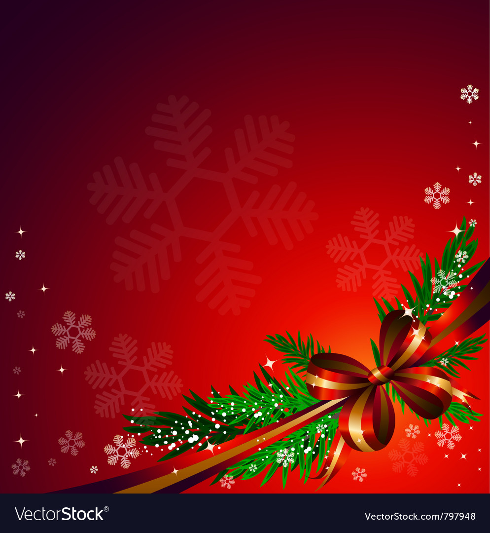 Red bow on red background vector