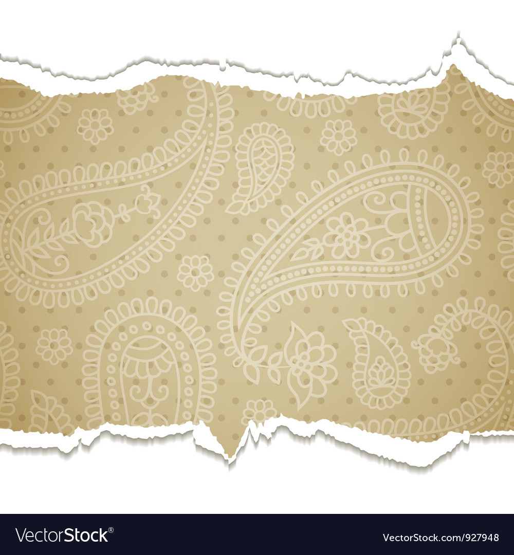 Torn paper with a paisley pattern vector