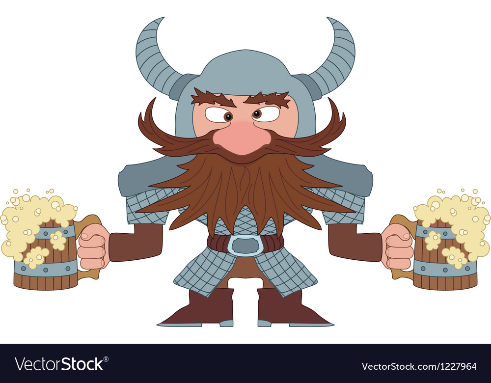 Dwarf with beer mugs vector