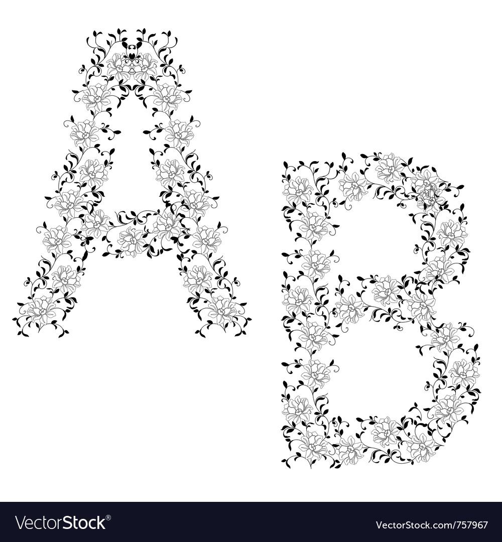Ornamental letter ab vector