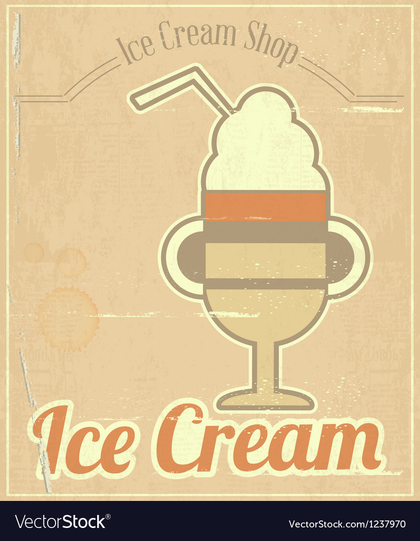 Ice cream dessert card vector
