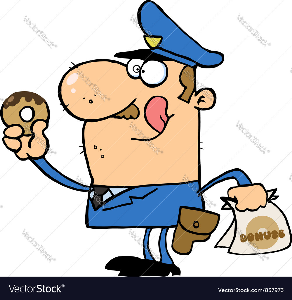 White cop licking his lips and holding a donut vector