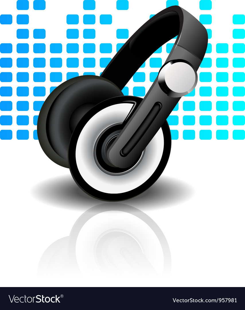 Headphones - blue background vector