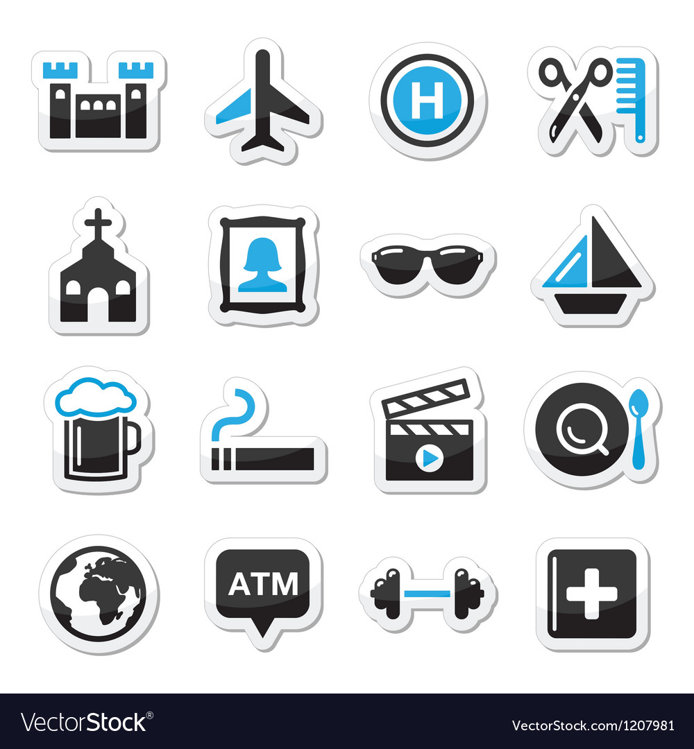 Travel tourism and transport icons set - vector