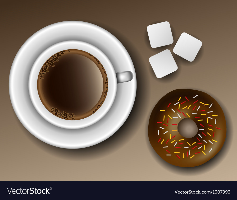 Coffee and donut from above vector