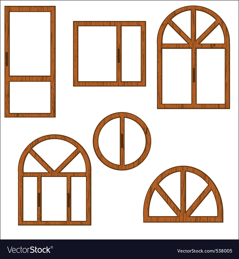 Wooden windows vector