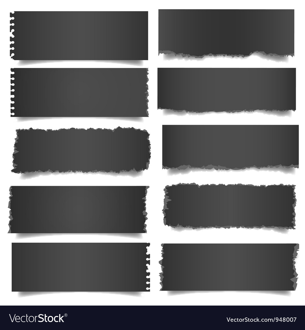 Ten black notes paper vector