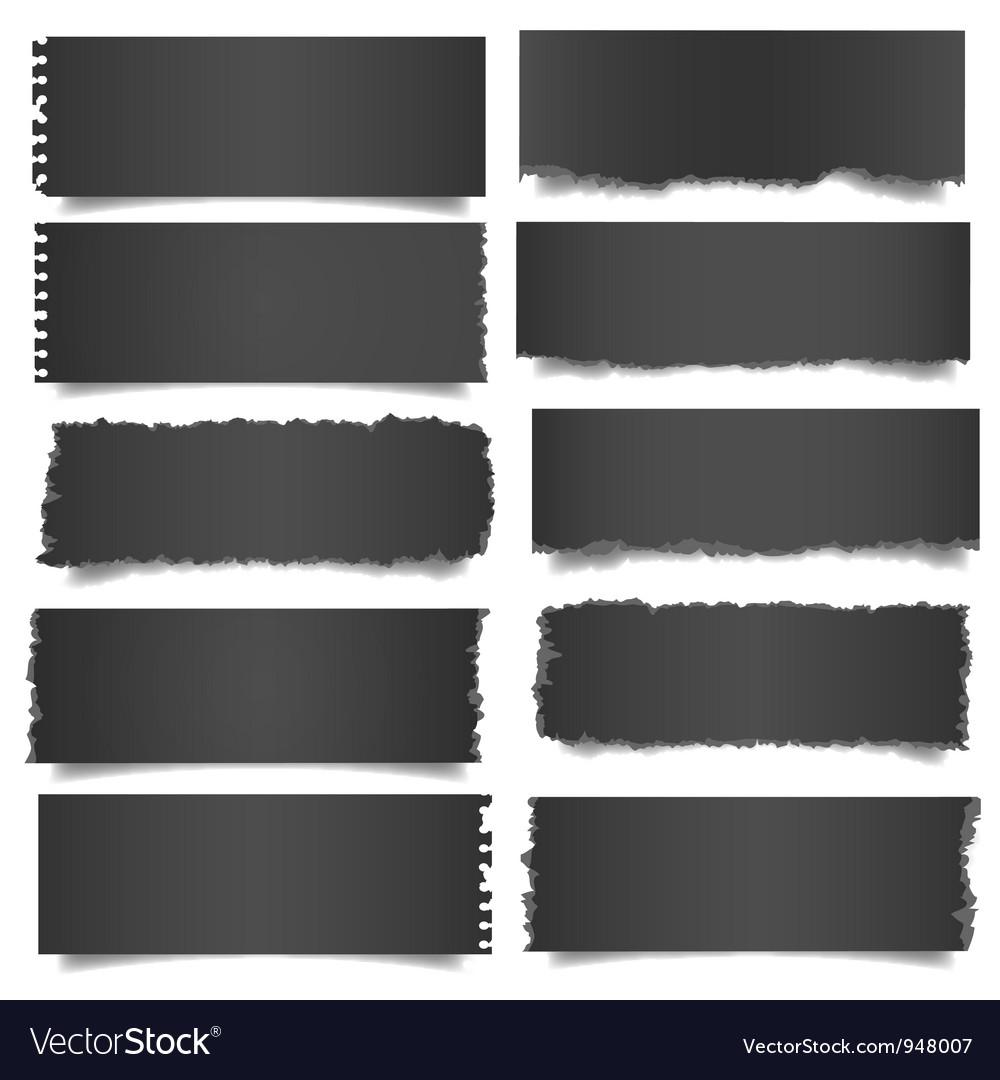 Ten black notes paper vector