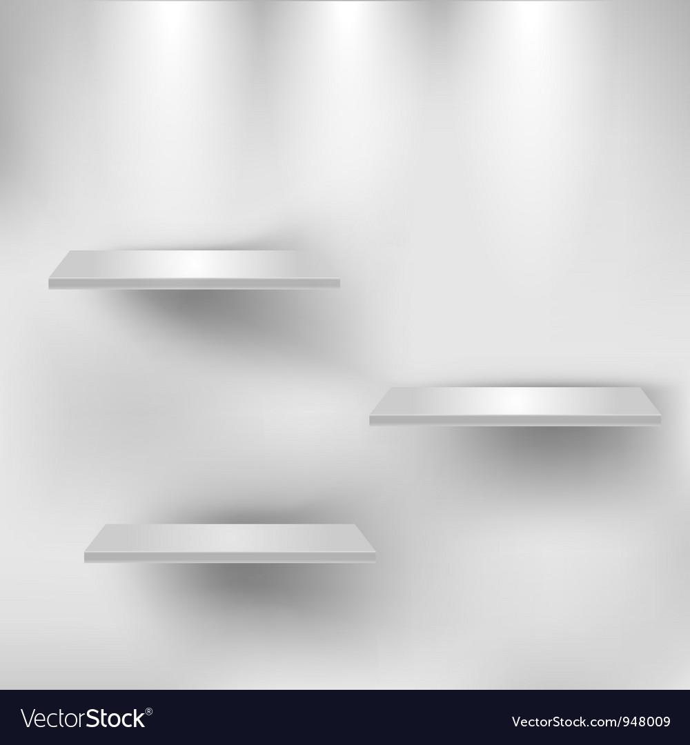 Three empty white shelves vector