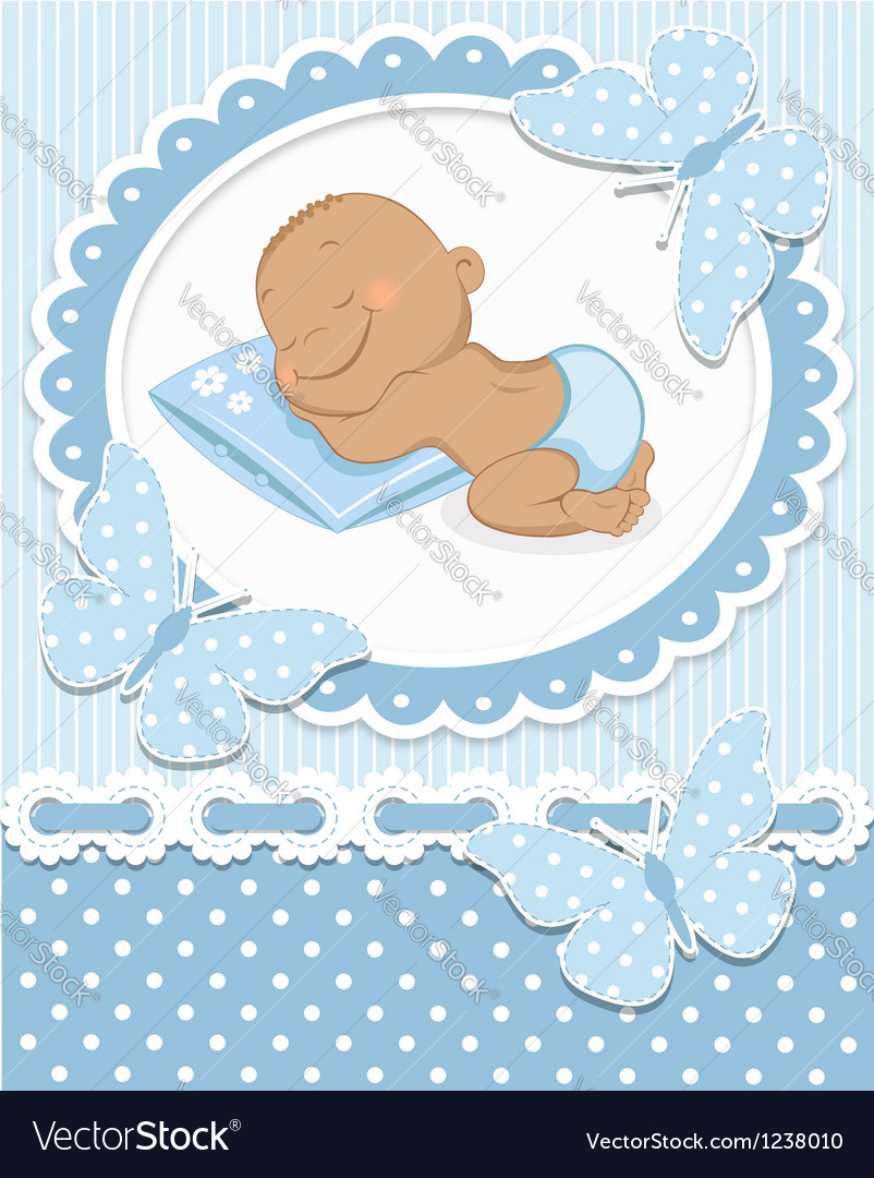 Sleeping african baby boy vector