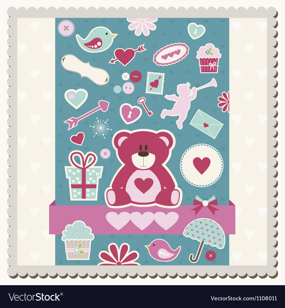 Valentines day scrapbook card vector