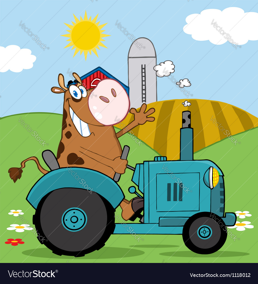 Cow farmer waving and driving a turquoise tractor vector
