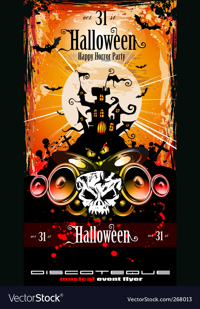 Halloween party disco flyer vector