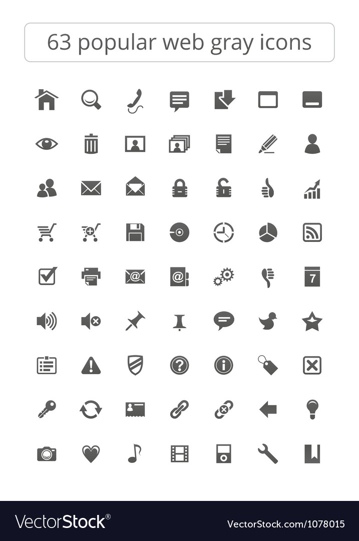 63 popular web gray icons vector
