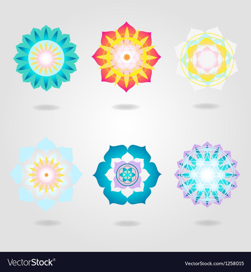 Mandalas icons set vector