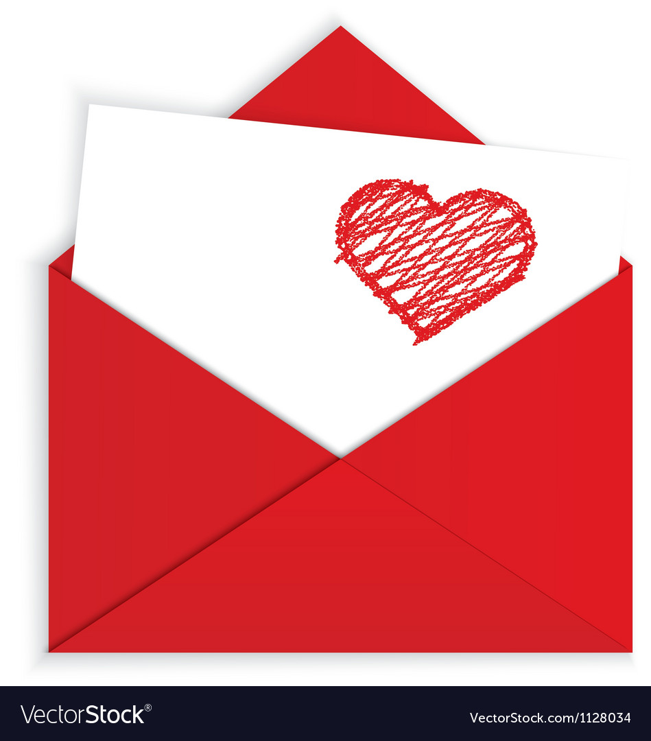 Heart crayon on red envelope vector