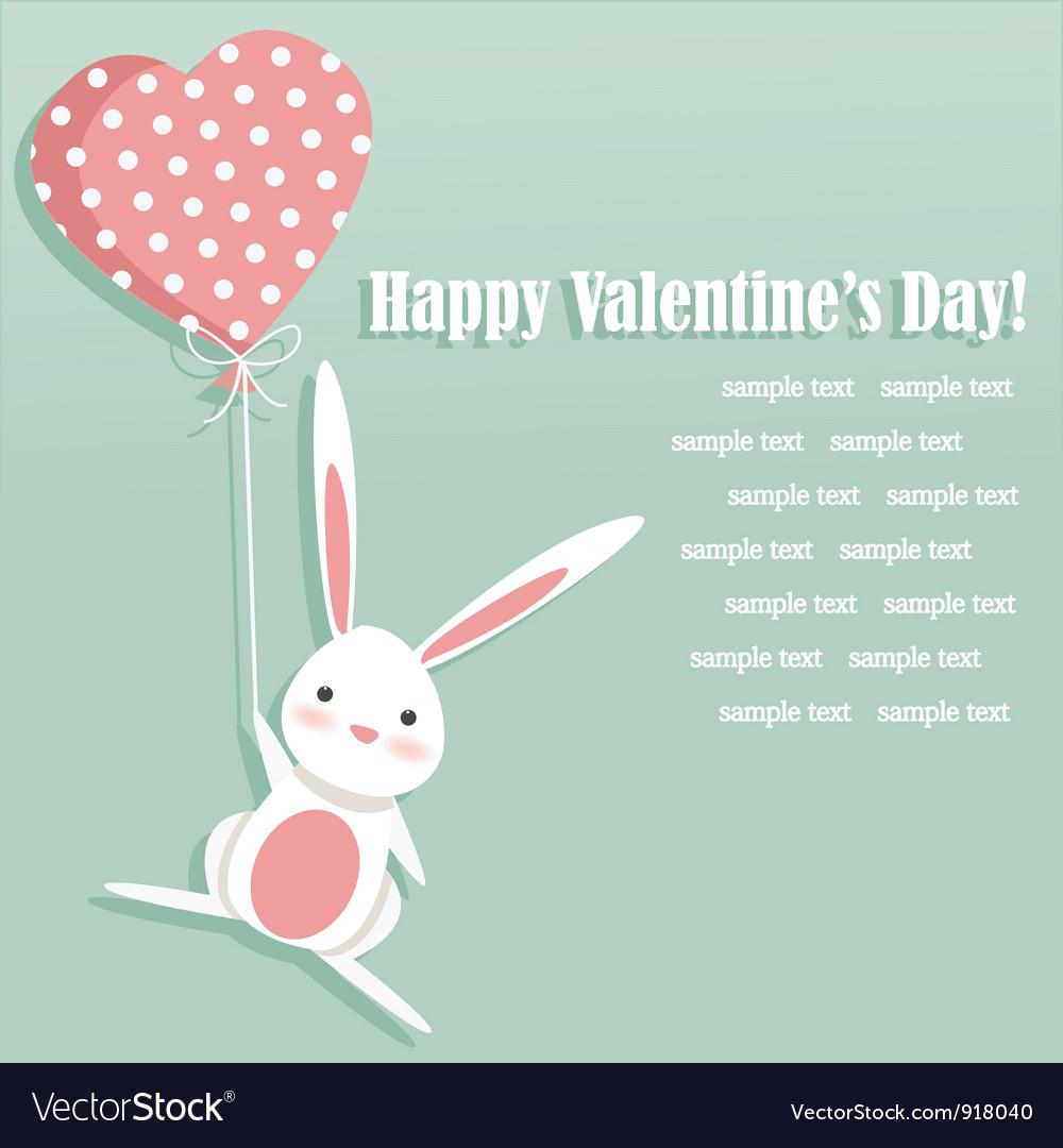 Valentine card with a cute bunny vector
