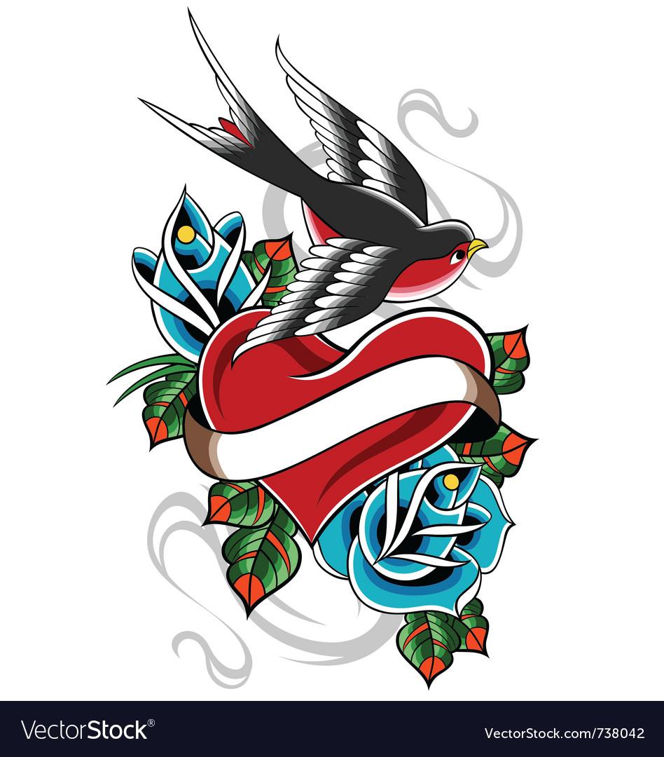 Heart tattoo emblem vector