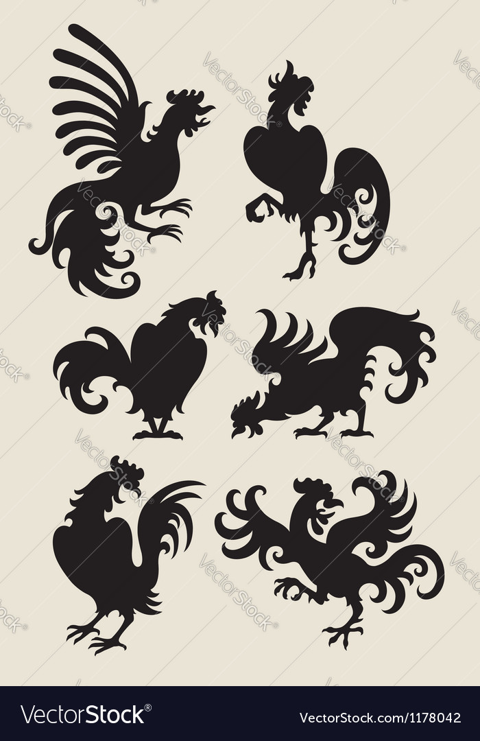 Rooster silhouette symbols vector