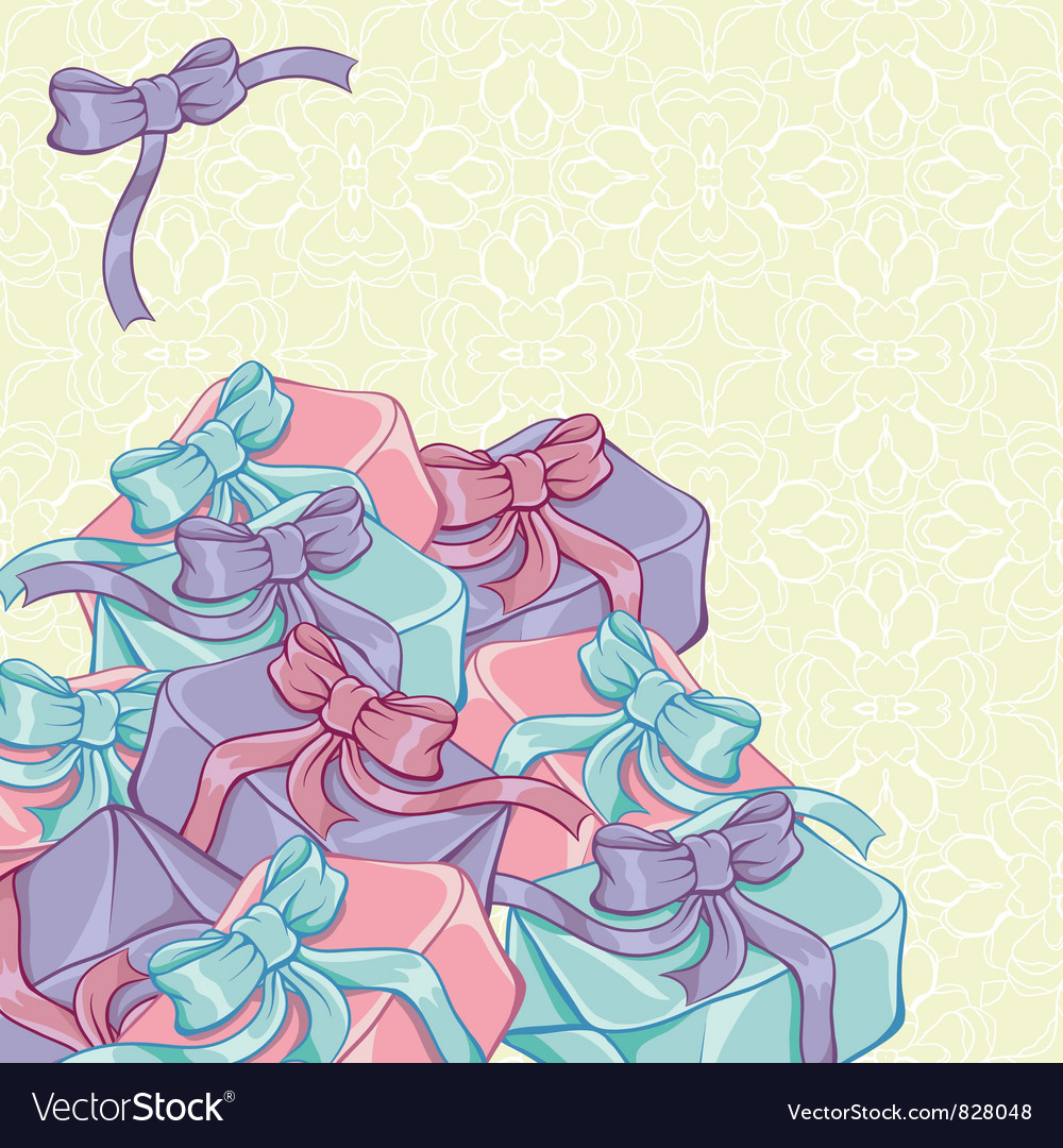 Gift boxes with ribbon vector