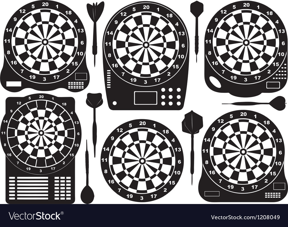 Set of electronic dartboards vector