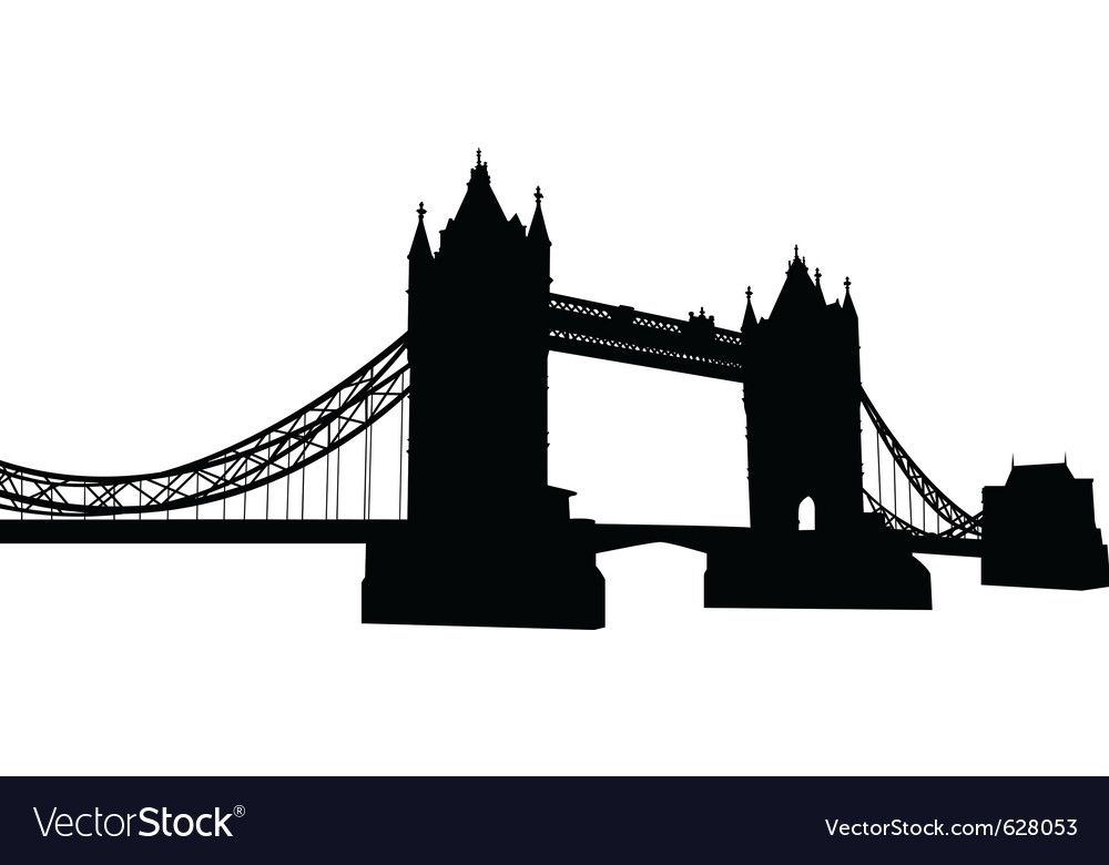 Bridge tower silhouette vector