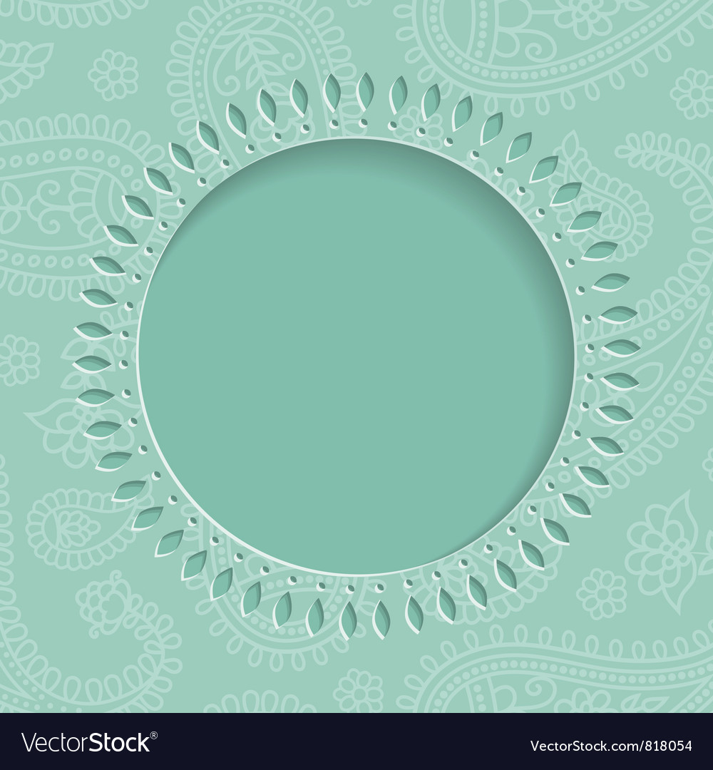 Blue paisley frame vector